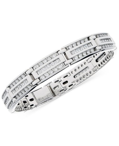 Macy's Men's Diamond Linear Cluster Link Bracelet (4 ct. t.w.) in 10k White Gold