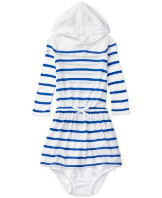 Image of Ralph Lauren Striped Hooded Long-Sleeve Dress, Baby Girls (0-24 months)