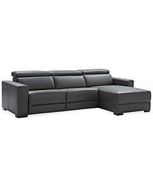 "Nevio 115"" 3-pc Leather Sectional Sofa with Chaise, 2 Power Recliners and Articulating Headrests, Created for Macy's"
