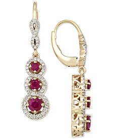 RARE Featuring GEMFIELDS Certified Ruby (1-1/10 ct. t.w.) and Diamond (1/2 ct. t.w.) Triple Stone Infinity Drop Earrings in 14k Gold, Created for Macy's