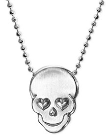Love Skull Beaded Pendant Necklace in Sterling Silver
