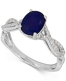 Sapphire (1-1/2 ct. t.w.) and Diamond (1/10 ct. t.w.) Ring in 14k White Gold