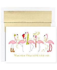 Masterpiece Cards Fashionista Flimingos Holiday Boxed Cards, 18 Cards and 18 Foil Lined Envelopes