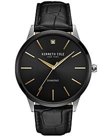Men's Diamond Accent Black Leather Strap Watch 43mmx50mm 10031287