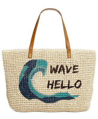 Style & Co Wave Straw Beach Bag Tote, Only at Macy's - Handbags ...