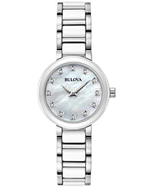 Bulova Women's Diamond Accent White Ceramic and Stainless Steel Bracelet Watch 30mm 98P158