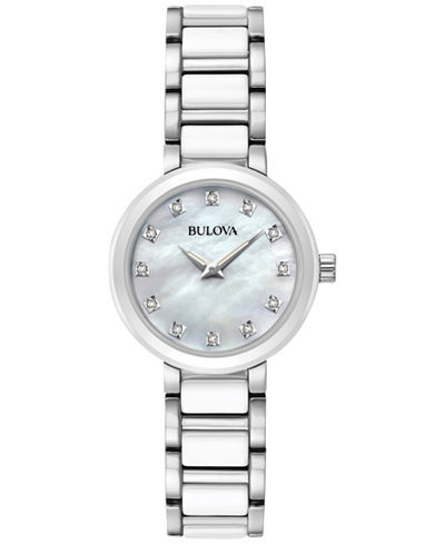 Bulova Women S Diamond Accent White Ceramic And Stainless