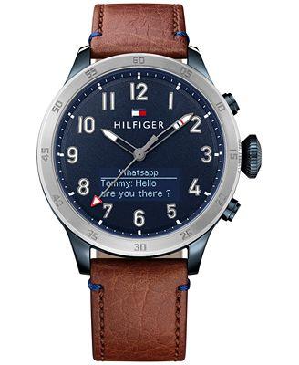 Tommy Hilfiger Men's Analog-Digital Brown Leather Strap Smart Watch 46mm 1791300