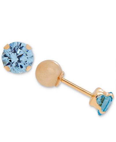 Children's Cubic Zirconia March Birthday Reversible Earrings in 14k Gold