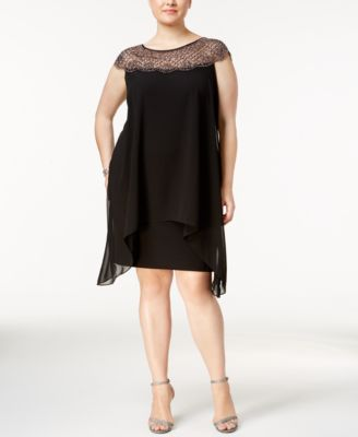 Xscape Plus Size Beaded Illusion Overlay Sheath Dress