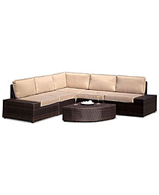 Aldin Outdoor Wicker Sofa Set, Quick Ship