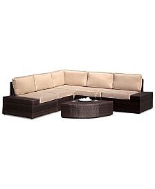 Aldin Outdoor Wicker Sofa Set, Quick Ship