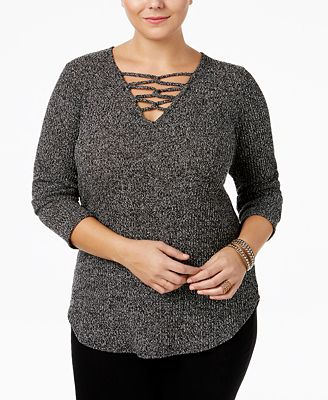 ING Trendy Plus Size Lace-Up Sweater