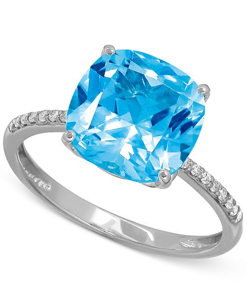 Macy's Blue Topaz (5-1/4 ct. t.w.) and Diamond Accent Ring in 14k White Gold (Also Available in Amethyst)