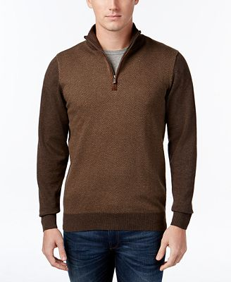 Tricots St Raphael Big and Tall Quarter-Zip Faux-Suede Trim Herringbone Sweater