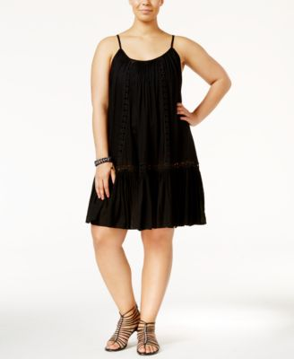 Raviya Plus Size Crochet-Inset Dress Cover-Up