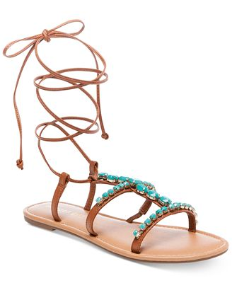 Madden Girl Kalipsoo Lace-Up Embellished Sandals