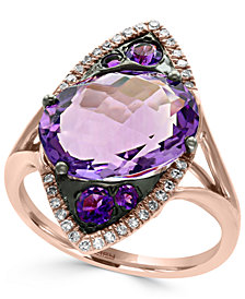 EFFY® Amethyst (5-3/4 ct. t.w.) and Diamond (1/8 ct. t.w.) Ring in 14k Rose Gold