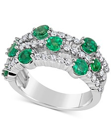 Emerald (1-3/4 ct. t.w.) and Diamond (5/8 ct. t.w.) Ring in 14k White Gold