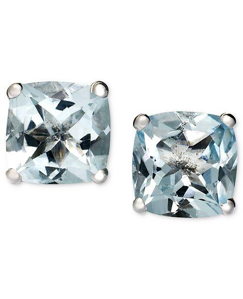 Macy's 14k White Gold Earrings, Aquamarine Cushion Studs (1-5/8 ct. t.w.)