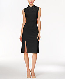 Ivanka Trump Embellished Mock-Neck Sheath Dress