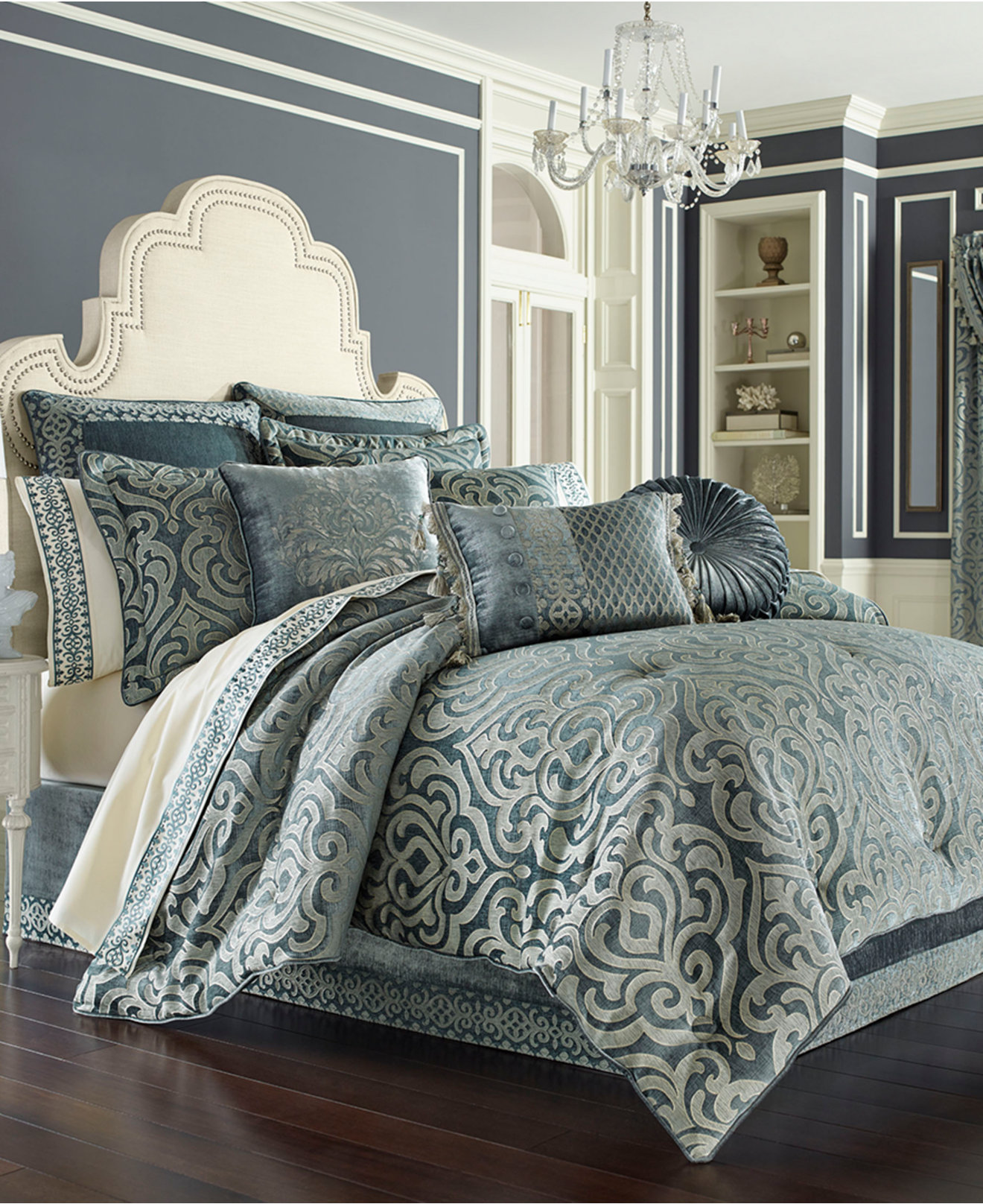 Queen new york luxembourg comforter set in antique silver bed - J Queen New York Sicily Teal Bedding Collection