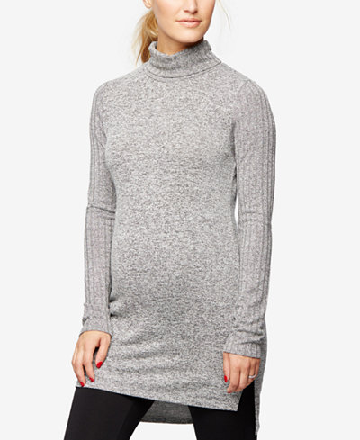 A Pea In The Pod Maternity Mock-Neck Ribbed Tunic