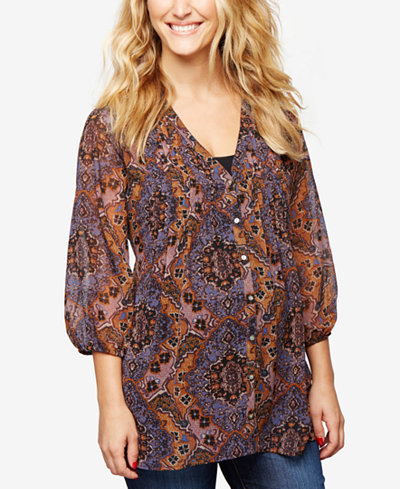 A Pea In The Pod Maternity Printed Blouse