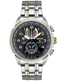 Seiko Men's Solar Chronograph Prospex World Time Stainless Steel Bracelet Watch 42mm SSC508