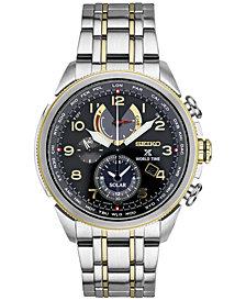 Seiko Men's Solar Chronograph Prospex World Time Stainless Steel Bracelet Watch 42mm SSC508