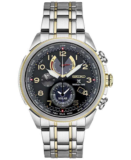 b81b0f416 ... Seiko Men's Solar Chronograph Prospex World Time Stainless Steel Bracelet  Watch 42mm SSC508 ...