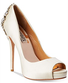 Kiara Embellished Peep-Toe Evening Pumps
