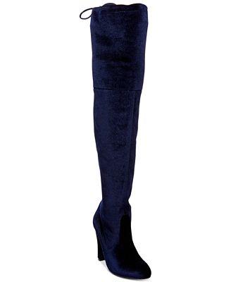 Steve Madden Women's Gorgeous Velvet Over-The-Knee Block-Heel Boots