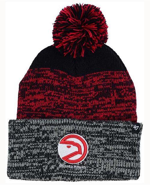 '47 Brand Atlanta Hawks Black Static Pom Knit Hat