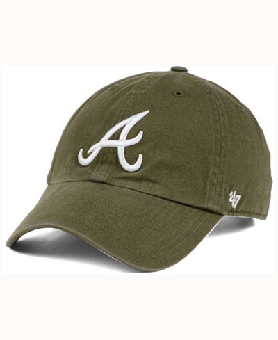 '47 Brand Atlanta Braves Olive White CLEAN UP Cap