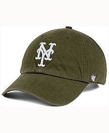 '47 Brand  New York Mets Olive White CLEAN UP Cap
