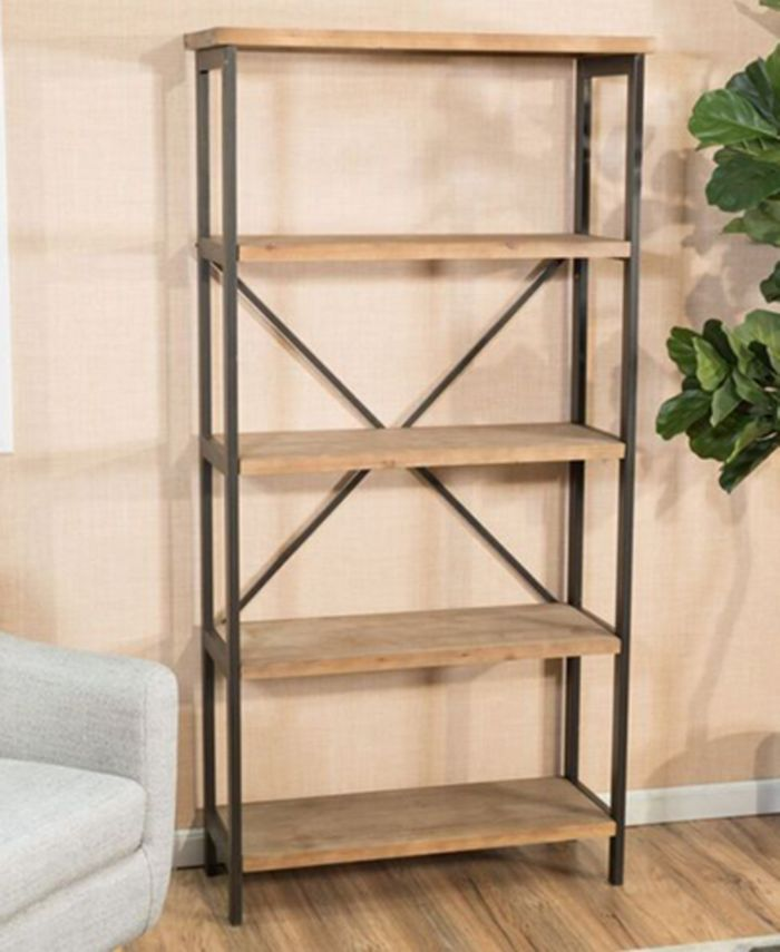 Noble House - Jerome 5-Shelf Industrial Bookcase, Direct Ship