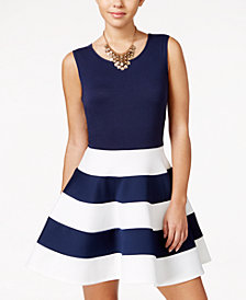 City Studios Juniors' Striped Fit & Flare Scuba Dress