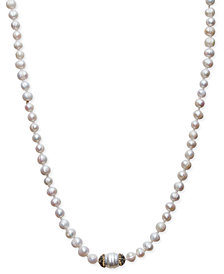 Paul & Pitü Naturally 14k Gold-Plated Pavé & Cultured Freshwater Pearl Cord Necklace