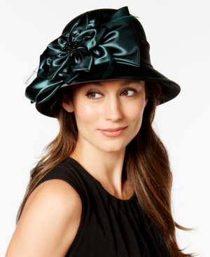 Retro Vintage Style Hats August Hats Satin Flower Dress Cloche $34.00 AT vintagedancer.com
