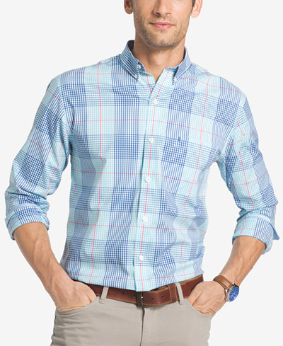 Izod men 39 s advantage non iron stretch poplin plaid shirt for Izod button down shirts