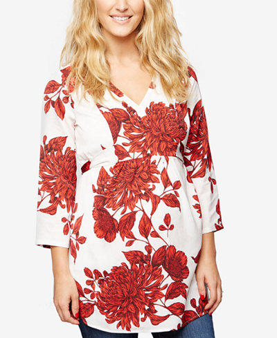 A Pea in the Pod Maternity Floral-Print Blouse