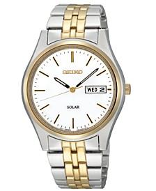 Watch, Men's Solar Two Tone Stainless Steel Bracelet 37mm SNE032