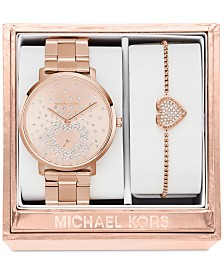michael kors watches macy s michael kors women s jaryn rose gold tone stainless steel bracelet watch and bracelet box set