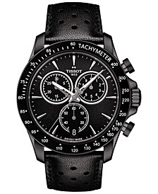 Men's Swiss Chronograph V8 Black Leather Strap Watch 42mm T1064173605100