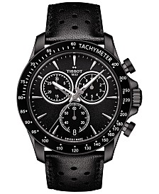 Tissot Men's Swiss Chronograph V8 Black Leather Strap Watch 42mm T1064173605100