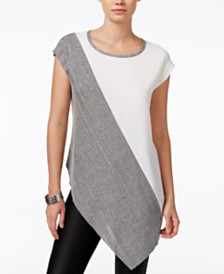Bar III Colorblocked Asymmetrical Top, Created for Macy's