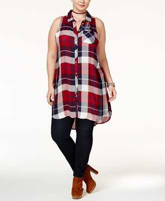american rag trendy plus size plaid tunic, only at macy's - tops