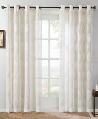 "Adele 50"" x 84"" Ogee Jacquard Sheer  Grommet Window Panel"
