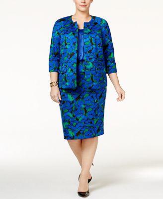 Kasper Plus Size Floral-Print Suit Separates